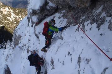 Salita invernale Spigolo Nord al Monte Sernio sulle Alpi Carniche